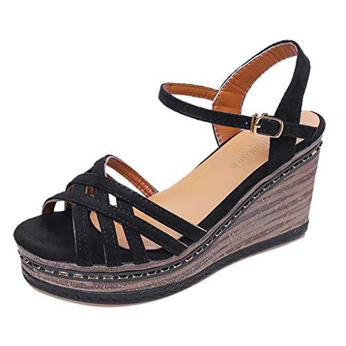 DEELIN Sandalen Damen Sommer Peep Toe Breathable Strand Sandalen Rom Schnalle Wedges Schuhe -