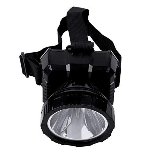 Diyu Faros para Exteriores Proyector LED Resplandor de Largo Alcance Recargable montado en la Cabeza Reflectores de Pesca Lámpara de minero - Color Negro