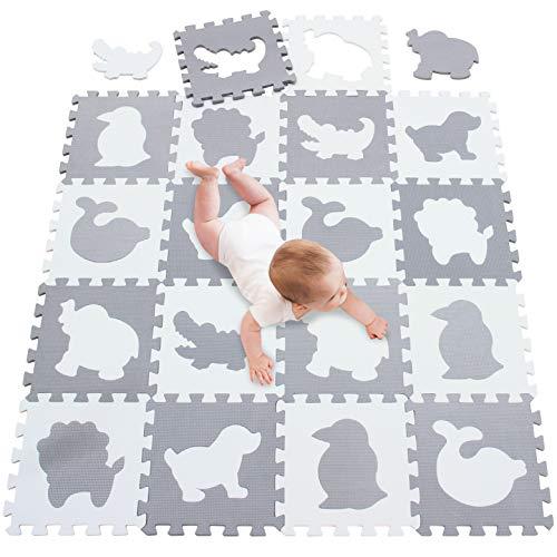 meiqicool Puzzlematte Baby Spielmatten Boden Gymnastik Puzzles Puzzles Puzzles Puzzles Spielmatten Boden Gymnastikmatten Rahmen Fitness Yoga Matten Krabbelmatte Schutzboden weiß grau 051