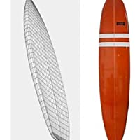 La mínima Tabla de surf diseño de rayas, color blanco y rojo, 7