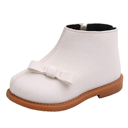 HDUFGJ Kinderstiefel Junge Mädchen Winterstiefel Schneestiefel Warme Lederstiefel kurz Boots wasserfeste Schneestiefel Reißverschluss Chelsea Boots Outdoor-Schuhe gefüttert wasserdicht25 EU(Beige)