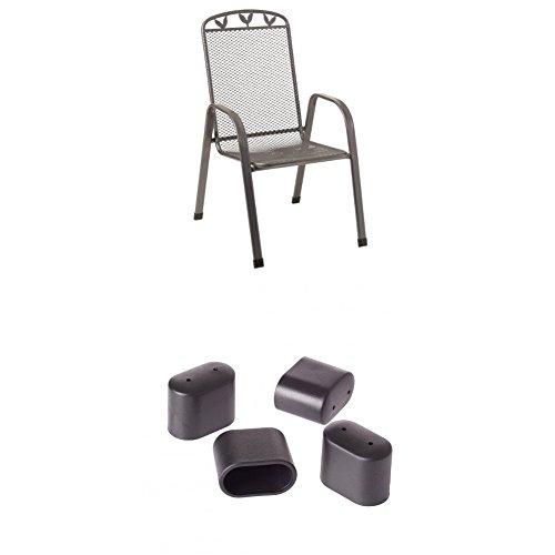 Greemotion Stapelsessel Toulouse eisengrau, Stuhl aus kunststoffummanteltem Stahl + Fußkappen für Stapelsessel, bank oder -hocker Toulouse grau, 4-tlg