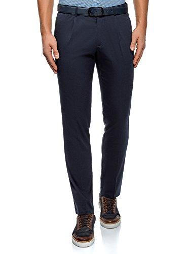 oodji Ultra Hombre Pantalones Slim con Pinzas, Azul, ES 42 (M)