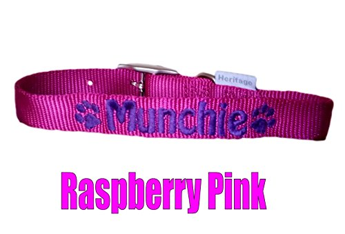 Personalised Strong Nylon Dog Collars Pink Blue Red Black FREE Embroidered Personalisation. ID Collar. (20 Inch (L)) 5