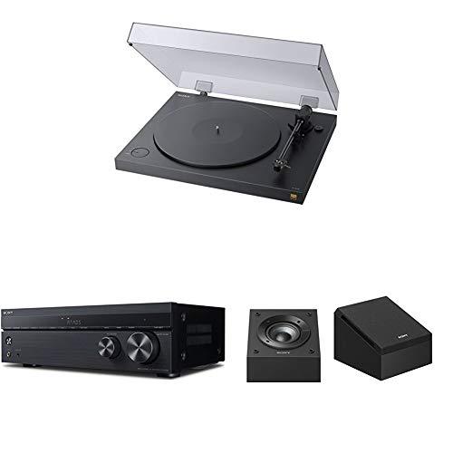 Sony PS-HX500 Plattenspieler (High-Resolution-Audio-Ripping-Funktion) Schwarz + AV Receiver (7.2-Kanal, Dolby Atmos/DTS:X) Schwarz + Unterstützende Lautsprecher für Dolby Atmos Wiedergabe, Schwarz