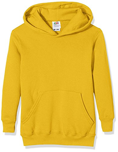 Fruit of the Loom Pull-Over Classic Hooded Sweat, Sudadera Niños, Amarillo (Sunflower), 14-15 años