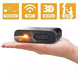 Artlii Mana Mini Beamer - WiFi Beamer DLP mit Eingebaute 5200mAh Akkus Klein Beamer unterstützt 3D Film und Airplay Miracast, Videoprojektor Kompatibel mit iPhone/Android Smartphone/Laptop
