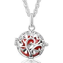 Cadena con colgante de bola Eudora armonía relicarios de plata de ley de la campana de regalo del día de la madre Carillón Musical