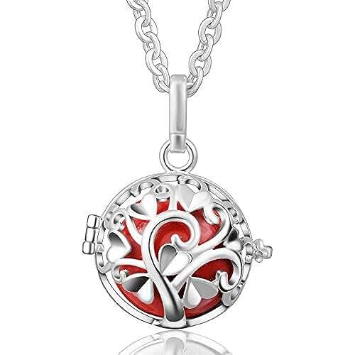 ofertas para el dia de la madre Cadena con colgante de bola Eudora armonía relicarios de plata de ley de la campana de regalo del día de la madre Carillón Musical