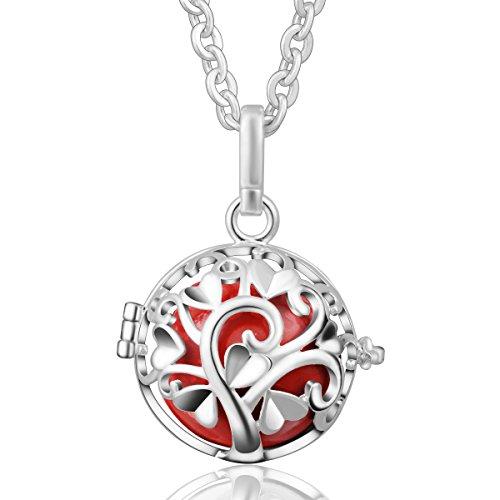 EUDORA Harmony Ball Anhänger Pendellei Kette Sterling Silber Musical Glockenspiel Glocke Mutter Tag Geschenk Rot