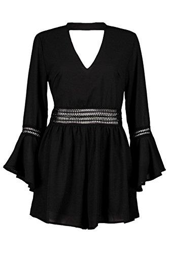 Noir Femmes Jen Combishort Ras Du Cou À Manches Évasées Et Ornement Crocheté Noir