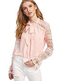 DIDK Damen Elegant Bluse mit Spitzen-Ärmeln und Schleife Langarm Sommerbluse 5874538a64
