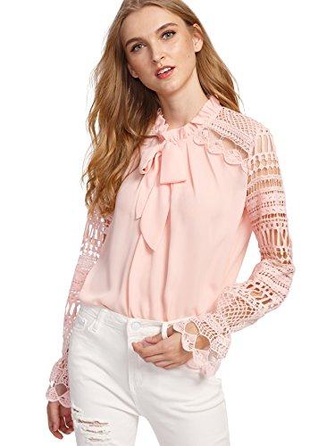 DIDK Damen Elegant Bluse mit Spitzen-Ärmeln und Schleife Langarm Sommerbluse Rosa M