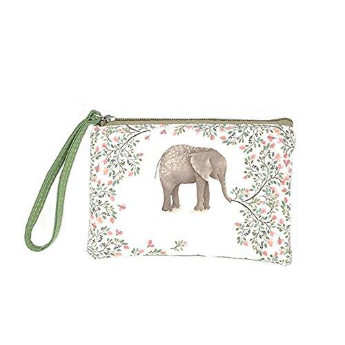 Lacheln Süß Karikatur Elefant Geldbörse Leinwand Brieftasche Hand Halten Kosmetischen Tasche Handytasche mit Armbändern für Weib Mädchen