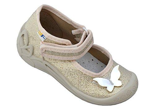 3f freedom for feet Mädchen Babyschuhe mit Klettverschluss   Atmungsaktiv   Süß 4 Farben Neugeborene Hausschuhe mit Echtes Leder Einlegesohlen   Größe 19 bis 25 (23, Gold Schmetterling 1F2/6)