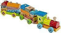 Eichhorn 100002223 - Color Holzzug, 18-teilig, bunt - Zug mit 15 Bausteinen - aus Holz - 41 cm lang