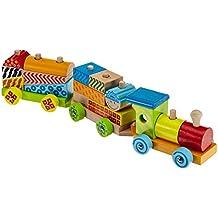 Eichhorn 100002223 - Set treno in legno 20 pezzi, incl. 17 mattoncini, 41 (Blocchi Treno)