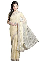 Pavechas Net Saree With Blouse Piece(MK3853_Beige_Free Size)
