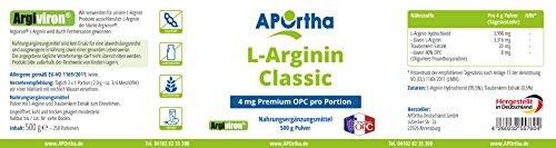 APOrtha Argiviron | L-Arginin Pulver | Plus 4 mg Premium OPC pro Portion | 500 g