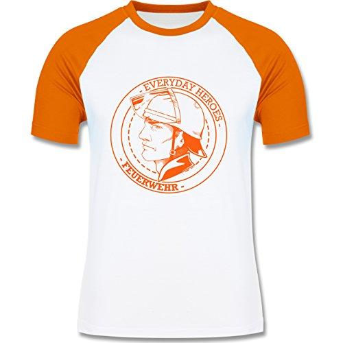 Feuerwehr - Everyday Heroes badge - zweifarbiges Baseballshirt für Männer Weiß/Orange