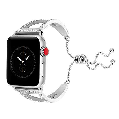 Edelstahl Armband für Apple Watch Series 4 44mm, Luxuriöses Schmuck Kette Ersatz Handschlaufe Mädchen Uhrenarmband Glitzer Diamant Replacement Wrist Strap für Apple Watch 42 mm Series 3 2 1 (Silber)
