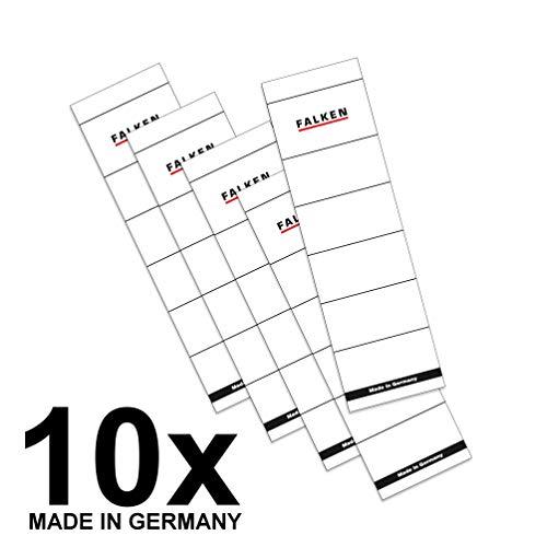 Falken 10er Pack Ordner-Rückenschild. Das Original - Made in Germany. Etiketten 54 x 190 mm zum Einstecken für 8 cm breite Ordner weiß