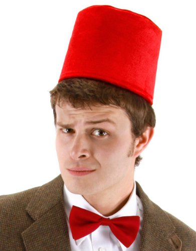 DR WHO FANCY DRESS FEZ HAT & RED BOW TIE DOCTOR (Doctor Who Kostüm Hat)