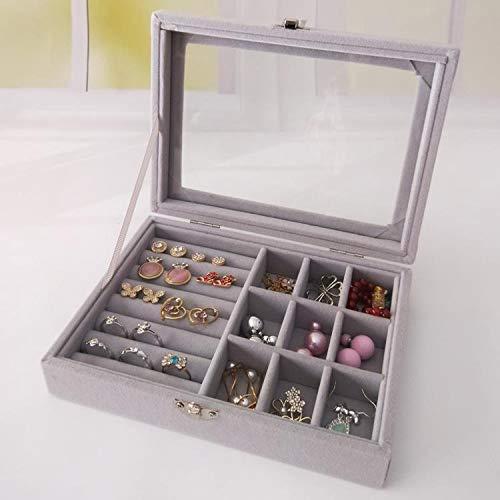 BUCKETLIST® Lid Jewelry Box Organizer with LockWomen Jewellery Storage Packaging(9 Rows Earring Ring Case 9Grid) Jewelry Storage Box for Girls/Women,Grey(2 in 1)
