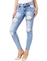 KRISP Women Distressed Ripped Skinny Jeans Ladies Bling Stud Stretch Fit Denim Pants