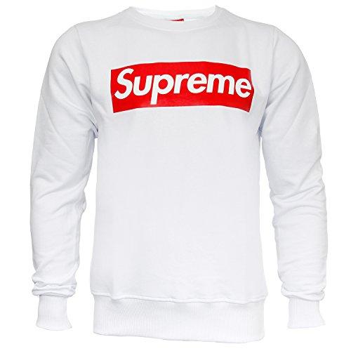 Supreme Italia Herren Sweatshirt Sweat Sweater Big Logo (M, white-red)