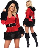 Sexy Miss Santa Womens Fancy dress outfit Mrs Xmas Costume with black fur and boot tops