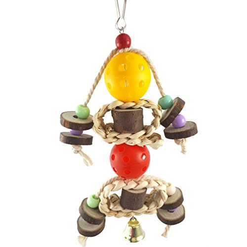 LongYu Oiseau Mâcher Jouet, Mors Dur en Bois Suspendu Bloc Perle Boule Ceinture Bois Meulage Molaire Griffe Grindstone Grand Moyen et Petit Oiseau Animal Support Rack Play Toy Perroquet Fournitures