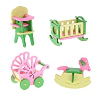 SaniMomo 4 Pieces Wooden Dollhouse Miniature Furniture (4 Themes) - Exquisite Handicraft - Kids Pretend Play Toys DIY Scenes Play