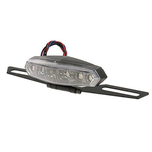 Generic Motorrad LED Bremslicht Hinteres Endstueck Drehplatte Signal Lizenz Kennzeichenbeleuchtung Schwarz