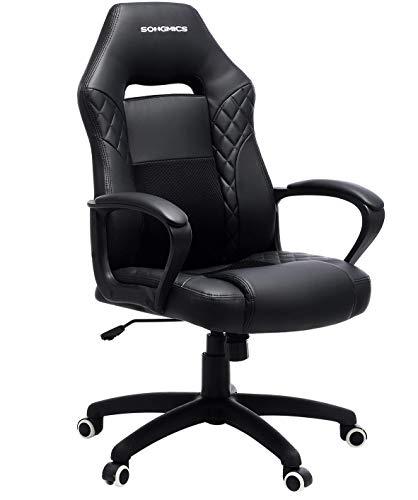 SONGMICS Gamingstuhl, Bürostuhl mit Wippfunktion, Racing Chair, ergonomisch, S-förmige Rückenlehne, gut für die Lendenwirbelsäule, bis 150 kg belastbar, Kunstleder, schwarz OBG38BK
