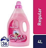 Comfort Fabric Softener Flora Soft 4 Litre + Comfort Concentrated Fabric Softener 650 ml Free