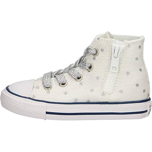 Converse CTAS Side Zip HI White/Pure Scarpa Bambino Sneakers 764046C Hi Side Zip