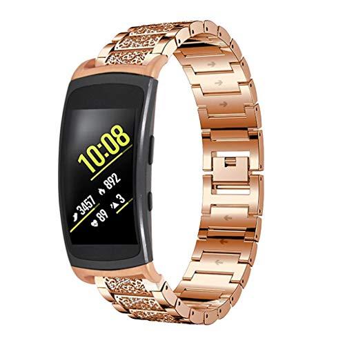 QHJ Armband Gear Fit 2 Band/Gear Fit 2 Pro,Bohren Sie Armband Smart Watch Band Strap für Samsung Gear Fit2 Pro SM R365 / Gear Fit2 SM R360 Smartwatch (Rose Gold)