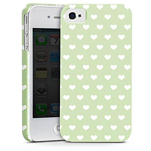 Apple iPhone X Silikon Hülle Case Schutzhülle Herzchen Grün Polka Premium Case glänzend