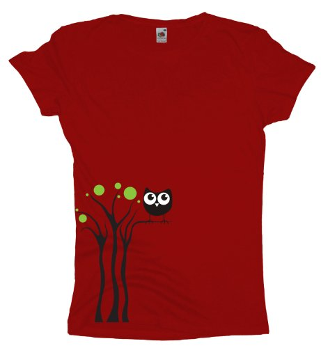Ma2ca - Black Owl Tree - Eulen T-Shirt Red
