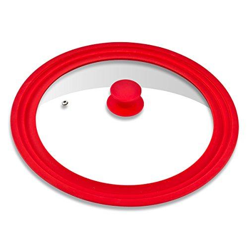 bremermann® Universal-Glasdeckel mit Silikonrand, 30/32/34 cm, groß (Rot)