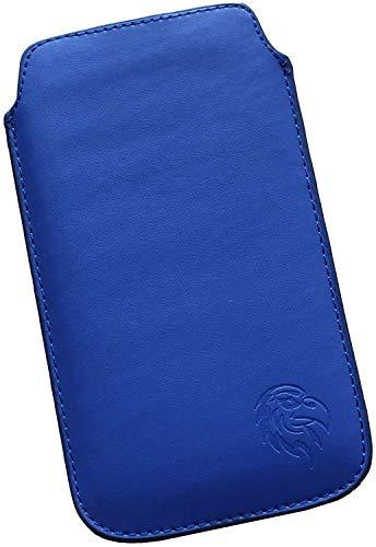 Dealbude24 Schutz Tasche für Samsung Galaxy A50 mit Hülle, Pull tab Hülle Handy herausziehbar, dünnes Etui genäht mit Rausziehband, innen weiches Microfaser mit exklusivem Adler Motiv SXS Dunkel-Blau - Leder Pull
