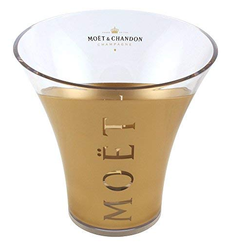 Moet & Chandon Champagner Flaschenkühler Gold Transparent Eiswürfel Behälter für eine Magnum 1,5 Liter oder 0,75 L Champagne Flasche