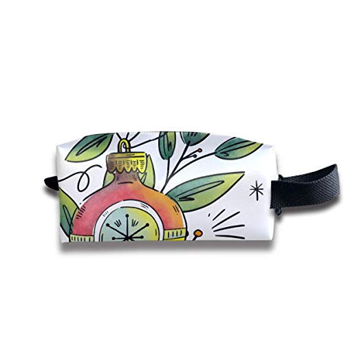 Cute Green Branch with Ornaments and Christmas Ball Women Cosmetic Bag Travel Girls Oxford Toiletry Bags Lovely Portable Hanging Organizer Makeup Pouch Pencil Case -