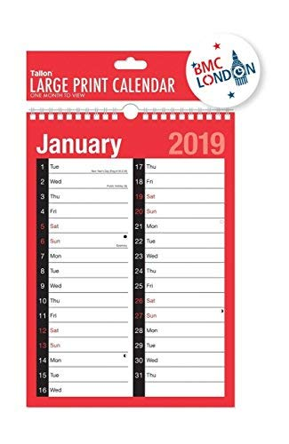 2019 Calendrier et Agenda Vue par Mois/une Semaine pour Voir - A4 Extra Large 2 Colonne Vue par Mois, A4 Extra Wide 2 Column Month To View
