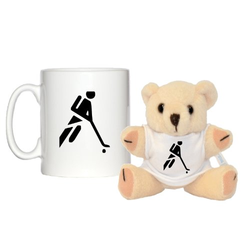 Becher, Motiv Hockey-/ Leichtathletik-Symbol, 284 ml & 12,7cm Bär mit passendem T-Shirt (Amp-hockey-puck)