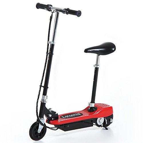 Homcom Trottinette électrique 120 W Pliable pour Enfants à partir de 7 Ans Hauteur de Guidon et Selle réglable 12 Km/h Max. Rouge et Noir