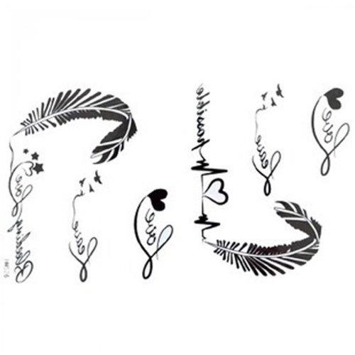 Spestyle impermeabile tatuaggio temporaneo non tossico stickersnew progettare la nuova release tatuaggi temporanei impermeabile lettere nere e bianche femminili dell'alfabeto ecg piuma tatuaggi finti