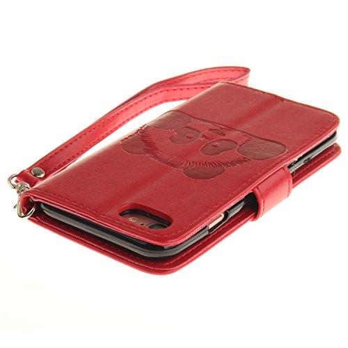 Custodia iPhone 7 Case, SsHhUu Cover Portafoglio in Vera Pelle [Carta Fessura] [Magnetica Chiusura] con Penna Capacitiva e Lanyard per Apple iPhone 7 / iPhone 8 (4.7) Nero Rosso
