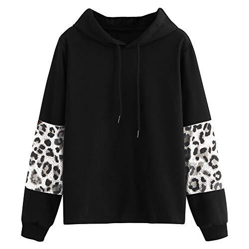 Manadlian Sudadera con Capucha de Manga Larga para Mujer Sudadera Color Block Blusas para Mujeres Sudadera Leopardo